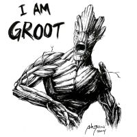 Groot - Ink Sketch by adr-ben