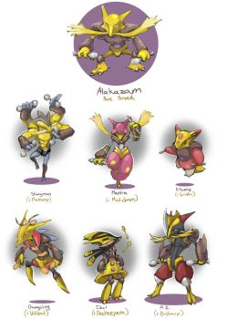 Alakazam Variants by AudGreen