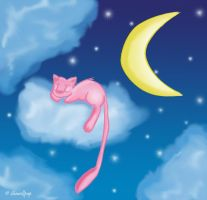 A sleeping Mew by shewolfpup2000