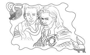 Thor and Loki Coloring Page by StacheRabbit