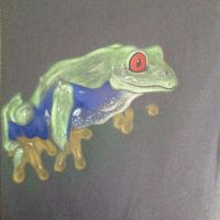 Frog with colored pencils on black paper by AurorynDragon