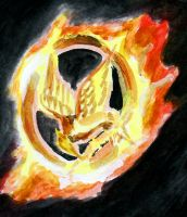 Mockingjay in fire by eclinio