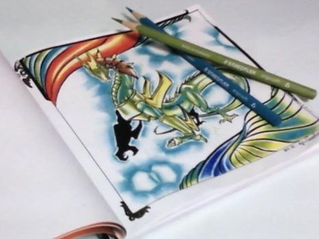 The Dragon and color pencils by Cavoluon
