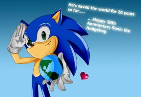 Happy 20th Birthday Sonic by Kittygur38