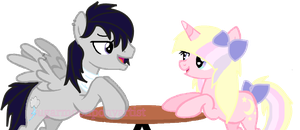 Winter Wing and Sugar Moon on a date. by SugarMoonPonyArtist