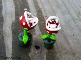 Piranha Plant Earrings by Rhiannon-San