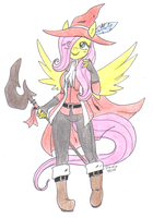 commish_ red mage fluttershy by pitch-black-crow