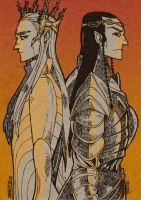 Thranduil and Elrond by JaneDoemmmmm