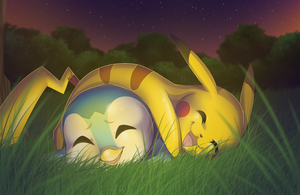 Pikachu and Piplup by RiverSpirit456
