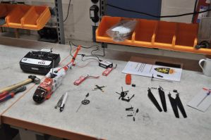 My RC Heli during the repair by SindreAHN