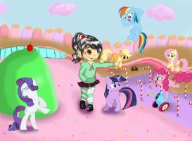 Vanellope and the Mane Six in Sugar Rush by tokyoterrorart