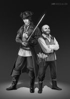 grayscale commissions 3 - pirates by vesner