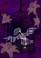 Caged Skelly Raven by HeatherCatz