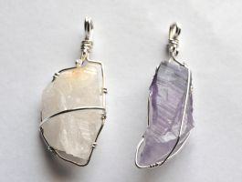 Citrine and Amethyst Point Pendants by lamorth-the-seeker