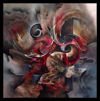 Phenix abstract painting by Amytea