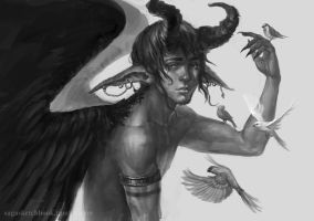 Winged demon by sagasketchbook
