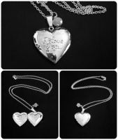 Engraved I Love You.. Silver Heart Locket Necklace by crystaland