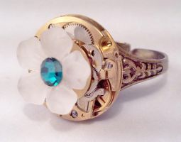 Ring with Flower and Crystal by SteamDesigns