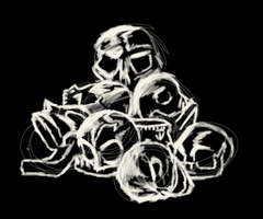 Day35: Skull Pile Sketch by coconutcow