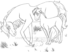 HORSES LINEART WIP by souerlemon