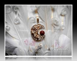 Commission  'Autumn moon' sterling silver pendant by seralune