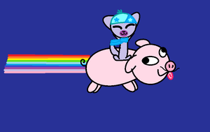 Rainbow Flying Derp Mustache Pig by PiperMagician