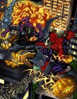 Spiderman vs Green Goblin col. by XimeniSHA