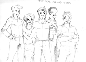 The Real Ghostbusters Group Sketch by Tentagami
