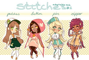 Adoptable Set 1 - Stitches OPEN by Konett
