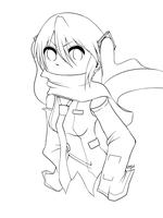 Miku and a scarf -lineart- by Emonkster