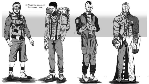 Futuristic Characters sketches by Shawnold