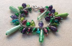 Cluster Bracelet - Green and Purple by WhiteMagicPriestess