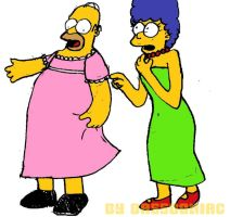 Homer and Marge by bassooniac
