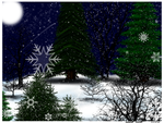 Winter snow and trees below by Bowser2Queen