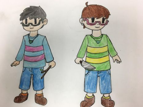 Brendon as Frisk and Kristen as Chara by The-Emeralds