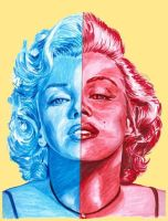 Marilyn red and blue by Xgrunt