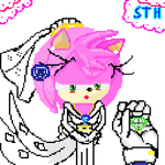 the wedding of Amy Rose and Sonic in Pixel Art by Gloominesss