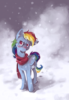 Rainbow Dash hates snow by GrayPaint