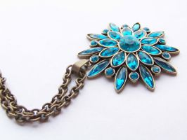 Blue Flower Necklace by ms-pen