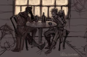 sketchbook : shady tavern on a bad day by kpelto-illustration