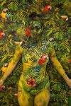 Invisible woman bodypaint jungle toucan by Bodypaintingbycatdot