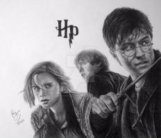 Harry Potter, Ron Weasley, and Hermione Granger by FromPencil2Paper