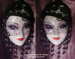 Silver Flapper mini-mask by DaenaCat