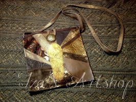 Golden Peacock patchwork leather purse by izasartshop
