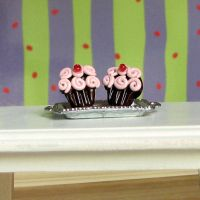 Chocolate Pink cupcake earring by Miss-Millificent