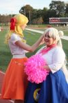 50's Sailor Venus assisting Sailor Moon by TheSnowDrifter