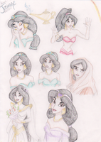 Disney Sketch-Colored: Jasmine by HumanStick