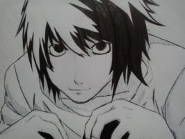 lawliet-with pen by xicainha