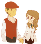 Layton and Claire - holding hands by Looji