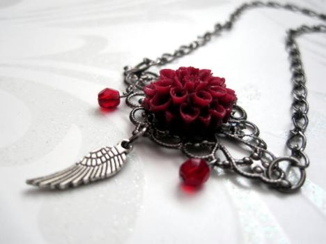 Gothic Gunmetal Red Dahalia Angel Wing Necklace by mzvampy